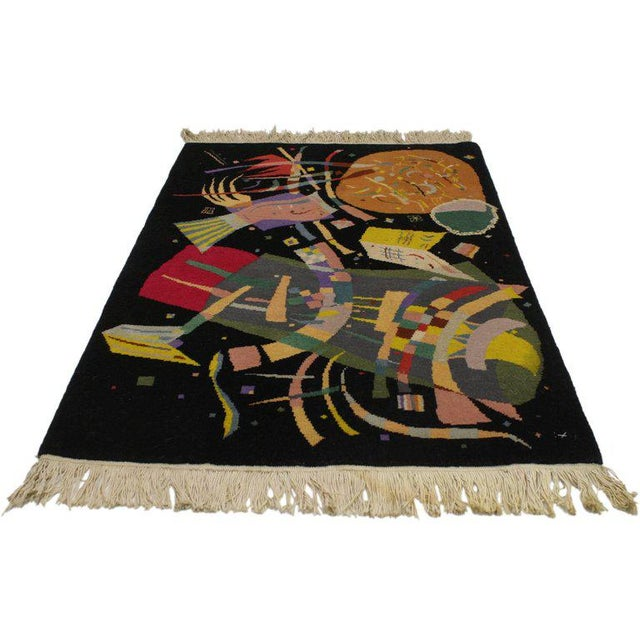 """77097 An Art Deco style tapestry inspired by Wassily Kandinsky's """"Composition X"""". This unique rug is inspired by..."""