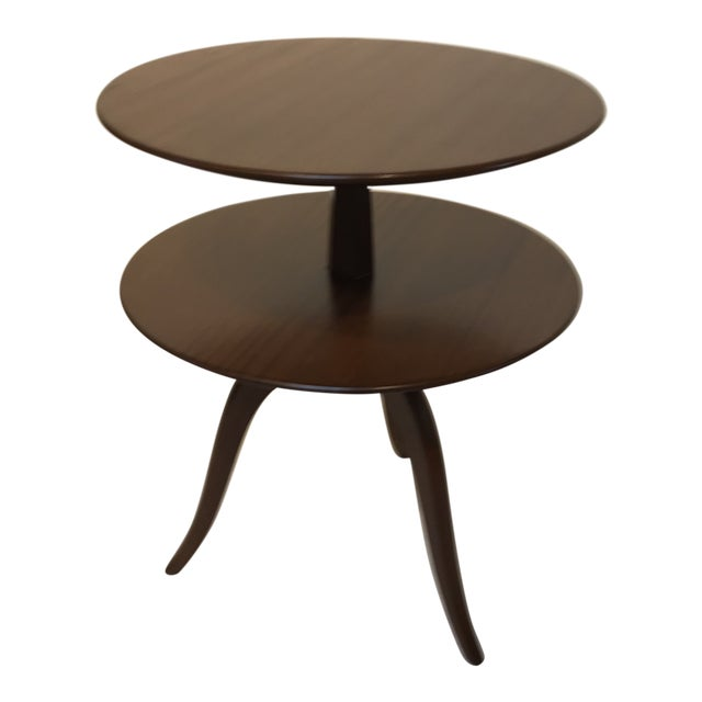 1950s Mid-Century Modern Paul Frankl for Brown Saltman Tiered Oak Side Table For Sale