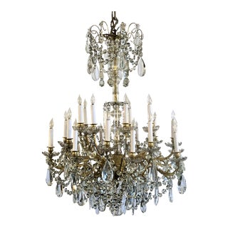 Antique French 24 Light Old Baccarat Crystal and Ormolu Chandelier, Circa 1890's