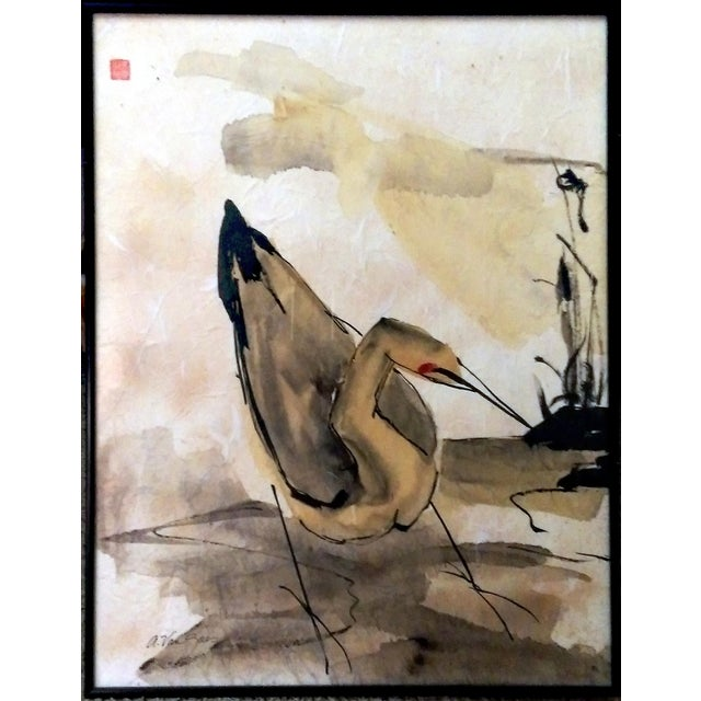 Asian Waterbird Ink & Watercolor Diptych - A Pair - Image 2 of 10
