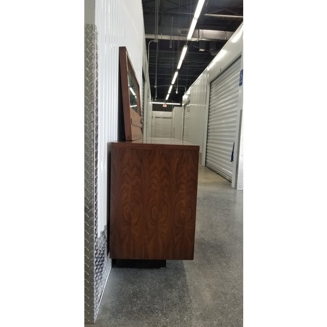 1970s Brutalist Lane Credenza/Long Chest of Drawers with Mirror For Sale - Image 10 of 13