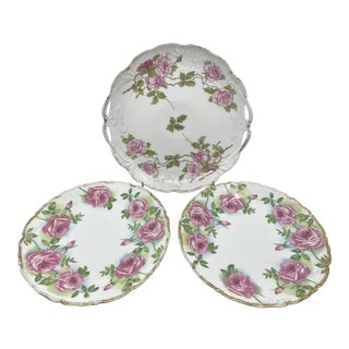 Antique French Limoges Pink Rose Plates- a Set of 3 For Sale