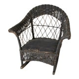 Image of Antique Children's Wicker Rocking Chair For Sale