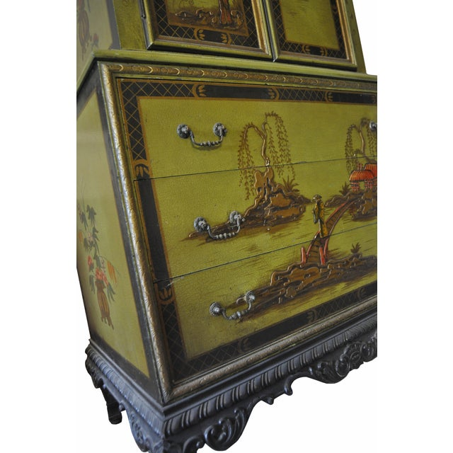 1930s Pear Green Chinoiserie Armoire - Image 4 of 5