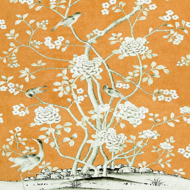 Contemporary Sample - Schumacher X Mary McDonald Chinois Palais Wallpaper in Tangerine For Sale - Image 3 of 3