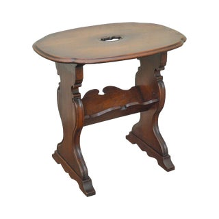 1920s Solid Walnut Custom Crafted Magazine Book Stand Side Table For Sale