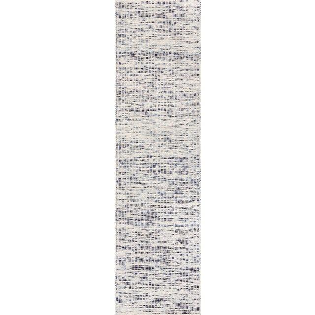 """Erin Gates Dartmouth Bartlett Blue Hand Made Wool Runner 2'3"""" X 8' For Sale"""