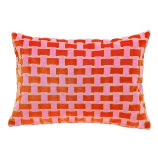 "Piper Collection Pink & Orange Velvet ""Gwen"" Pillow"