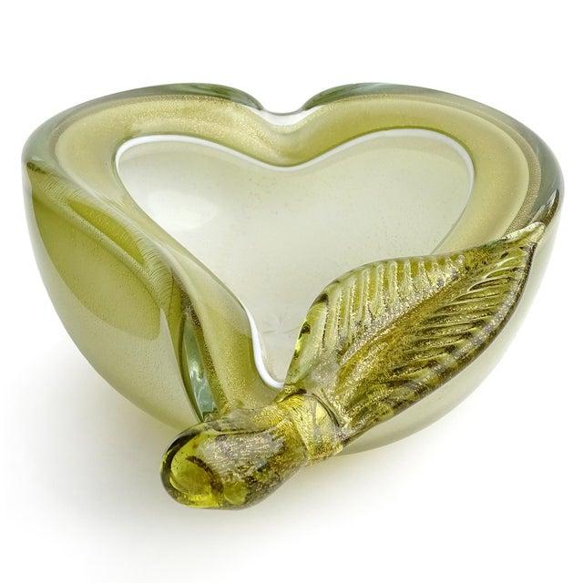 Mid-Century Modern Barbini Murano Vintage Green Apple Pear Gold Flecks Italian Art Glass Mid Century Fruit Bowls - a Pair For Sale - Image 3 of 12