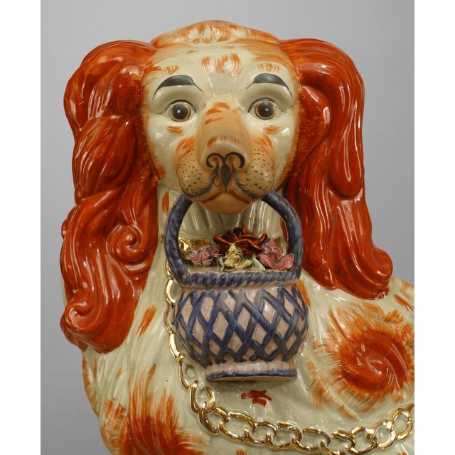 Farmhouse Early 20th Century English Staffordshire Spaniel Sculptures - a Pair For Sale - Image 3 of 6