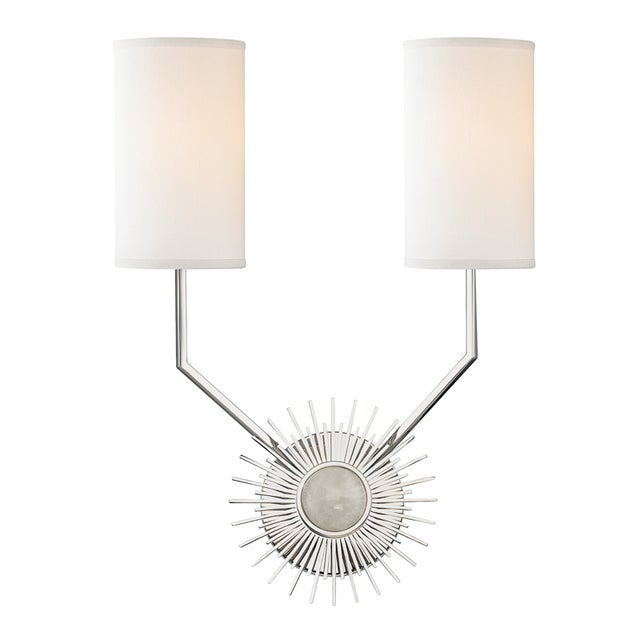 Modern Borland 2 Light Wall Sconce - Polished Nickel For Sale - Image 3 of 3