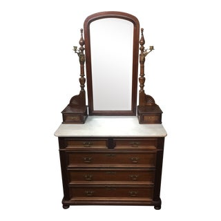 Antique Victorian Marble Topped Dresser With Mirror For Sale
