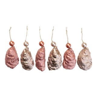 Champagne & Rose Gold Oyster Shell Christmas Ornaments - Set of 6 For Sale