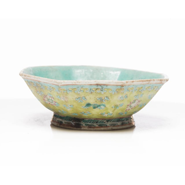 A stunning antique pentagonal Chinese Famille Rose porcelain bowl of a Qing style design with hand-painted floral and...