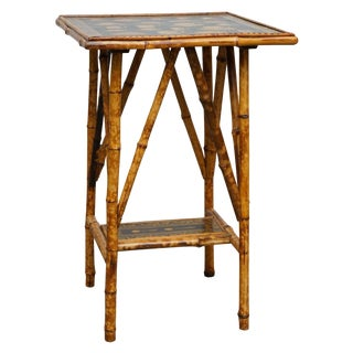 Tortoise Bamboo Table With Tea Cup Decoupage Top For Sale