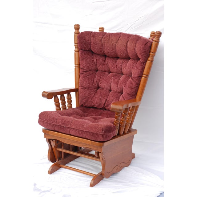 Giselle Solid Wood Glider Rocker with Burgundy Tufted Cushion - Image 11 of 11
