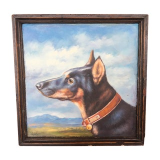 Antique Tray with Painted Dog Portrait