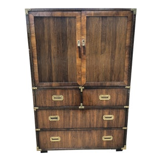 Vintage Lane Campaign Walnut Dresser For Sale