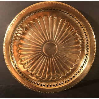 Vintage Brass Sunburst Tray With Pierced Sides Preview
