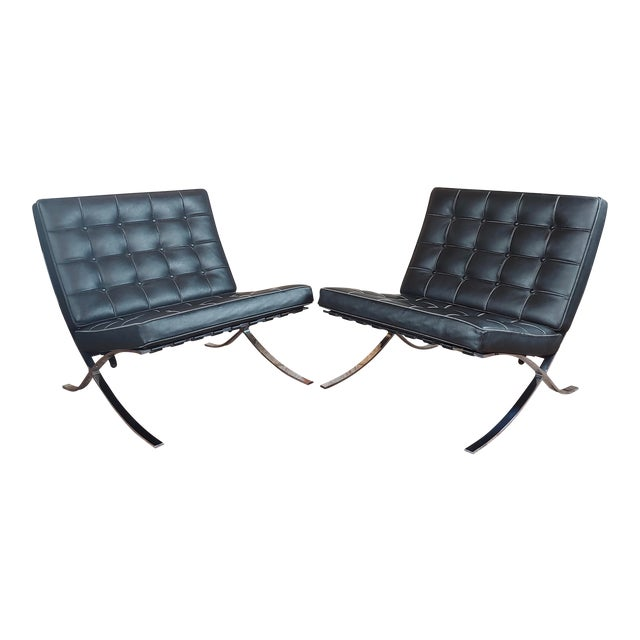 Barcelona Chairs -Beautiful Vintage Black Leather Seats -A Pair For Sale