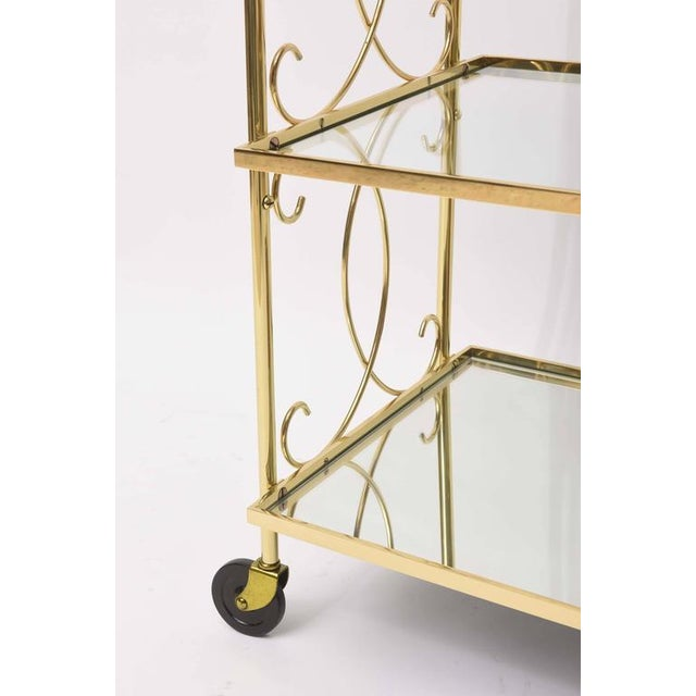 Hollywood Regency Mid-Century Italian Brass Bar Cart For Sale - Image 3 of 10