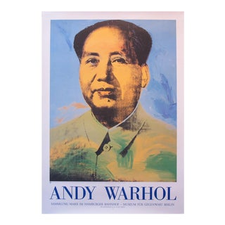 Original 1990's Andy Warhol Poster, Mao Zedong, German Exhibition Poster For Sale