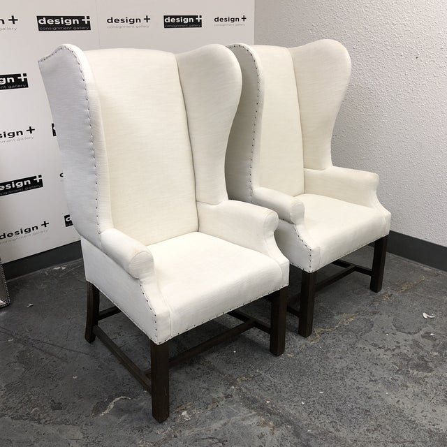 Restoration Hardware French White Linen Wingback Chairs A Pair
