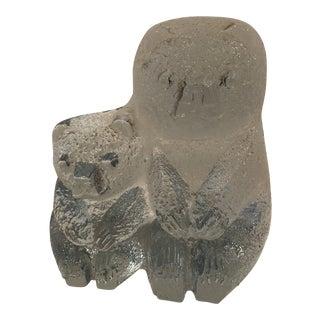 Mid Century Blenko Bear Sculpture Bookend For Sale