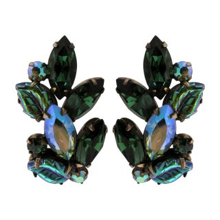 Pair of Blue and Green Regency Clip Earrings For Sale