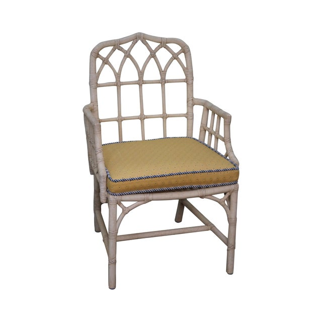 McGuire Chinese Chippendale Style Rattan Arm Chair - Image 1 of 10