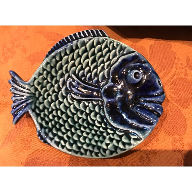Vintage Olfaire Majolica Ceramic Fish Serving Dishes - Set of 5 For Sale - Image 4 of 11