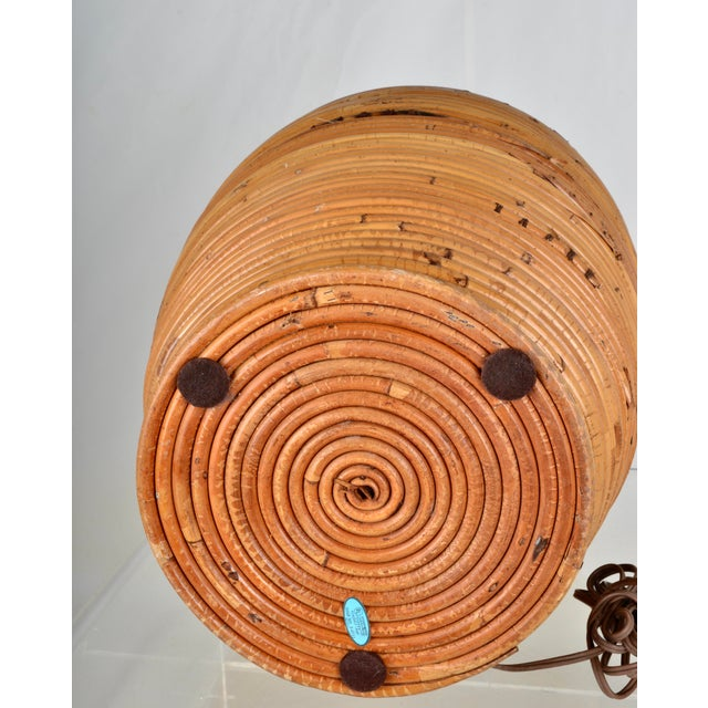 Wood Large Rattan Lamp With Shade For Sale - Image 7 of 8