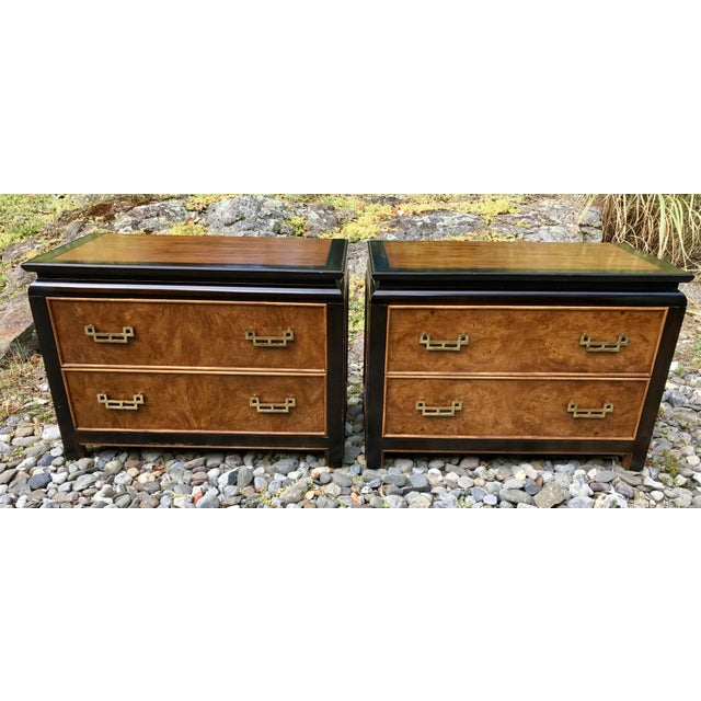 Century Chinoiserie Chin Hua Burl Wood Night Stands / Short Dressers - a Pair - Image 2 of 11