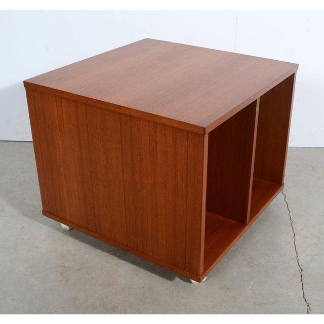 Danish Modern Bruksbo Danish Modern Teak Magazine Stand Teak Bookcase Vinyl Cart For Sale - Image 3 of 5