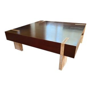 Contemporary Reclaimed Wood Coffee Table For Sale