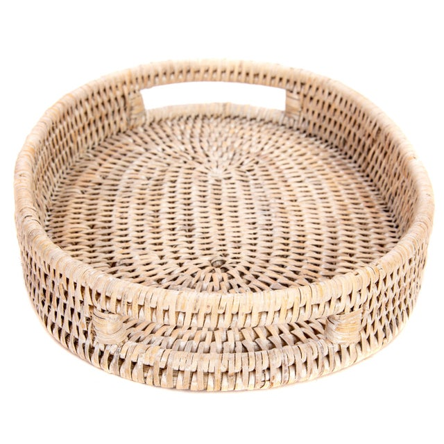 """Boho Chic Artifacts Rattan Oval Tray 10""""x8""""x1.5"""" For Sale - Image 3 of 5"""