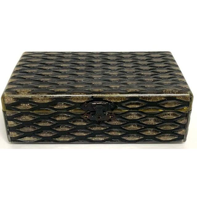 French Art Deco Herringbone Celluloid Box For Sale - Image 9 of 13