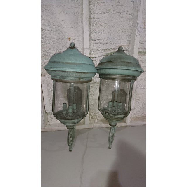 Handcrafted French Country Wall Lantern - A Pair For Sale - Image 10 of 10