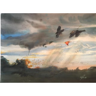 """Vintage 1970's Realist Watercolor Painting, """"Crows in Flight"""" For Sale"""