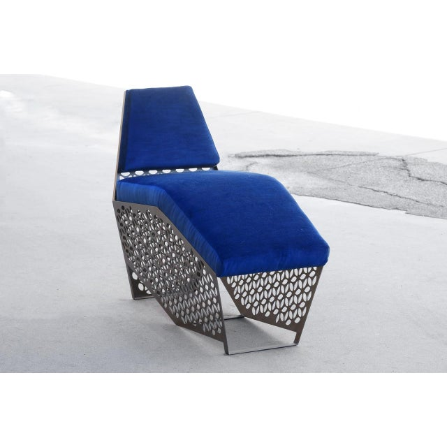 Metal Modern Petite Chaise Lounge Chair by Rehab Vintage Interiors, Custom Made to Order For Sale - Image 7 of 7