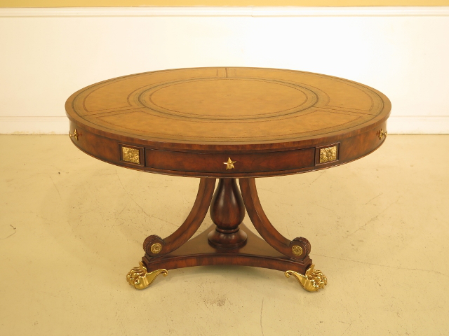 Antique Leather Top Round Coffee Table Designs
