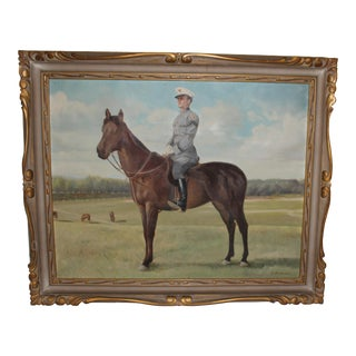 Mid 20th Century Figurative Equestrian Oil Painting, Framed For Sale