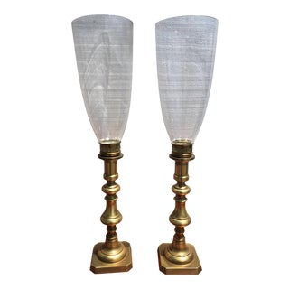Solid Brass Candlesticks With Hand Blown Hurricane Glass Shades - a Pair For Sale