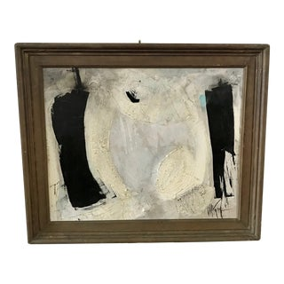 1960s Vintage Graham Harmon Black and White Abstract Painting For Sale