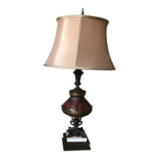 Antique Table Lamp with Shade For Sale