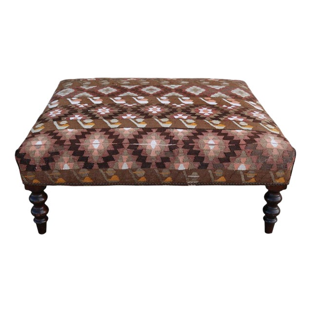 19th Century Napoleon III France Ottoman with Kilim Rugs Upholstery For Sale