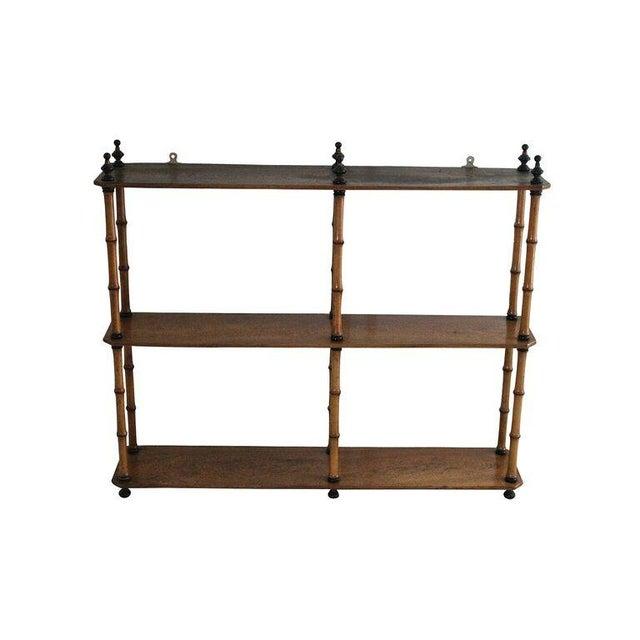 Mid-Century Three-Tiered Bamboo Wall Shelf - Image 1 of 3