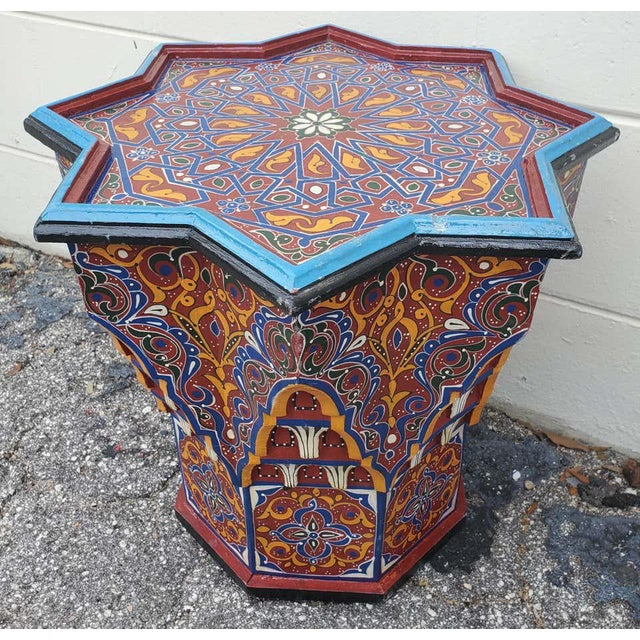 Moroccan Sm Ceuta 1 Painted and Carved Star Table, Multi-Color For Sale - Image 4 of 8
