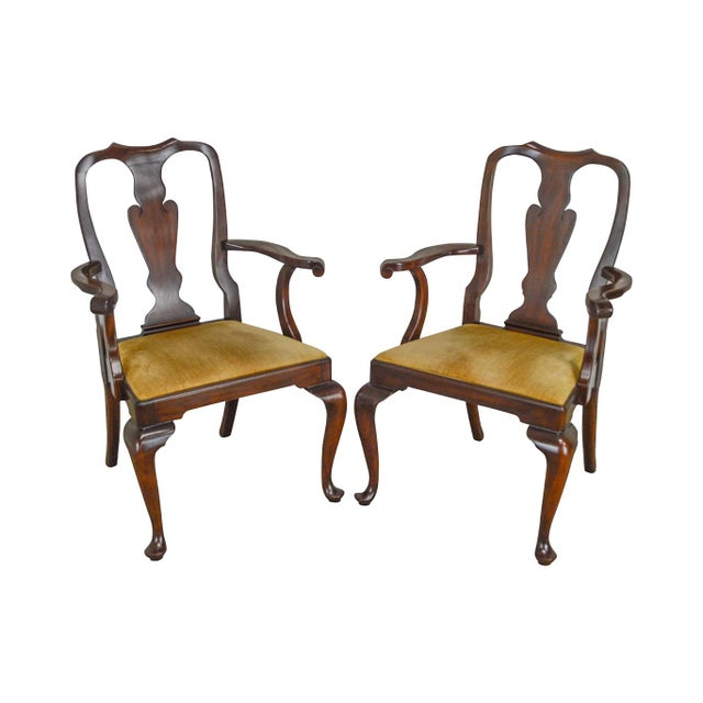 Henkel Harris Queen Anne Style Mahogany Pair of Arm Chairs #110a For Sale - Image 12 of 12