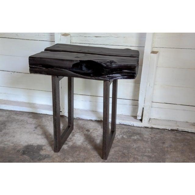 Metal Asian Modern Yakisugi Wood and Metal Side End Table For Sale - Image 7 of 13